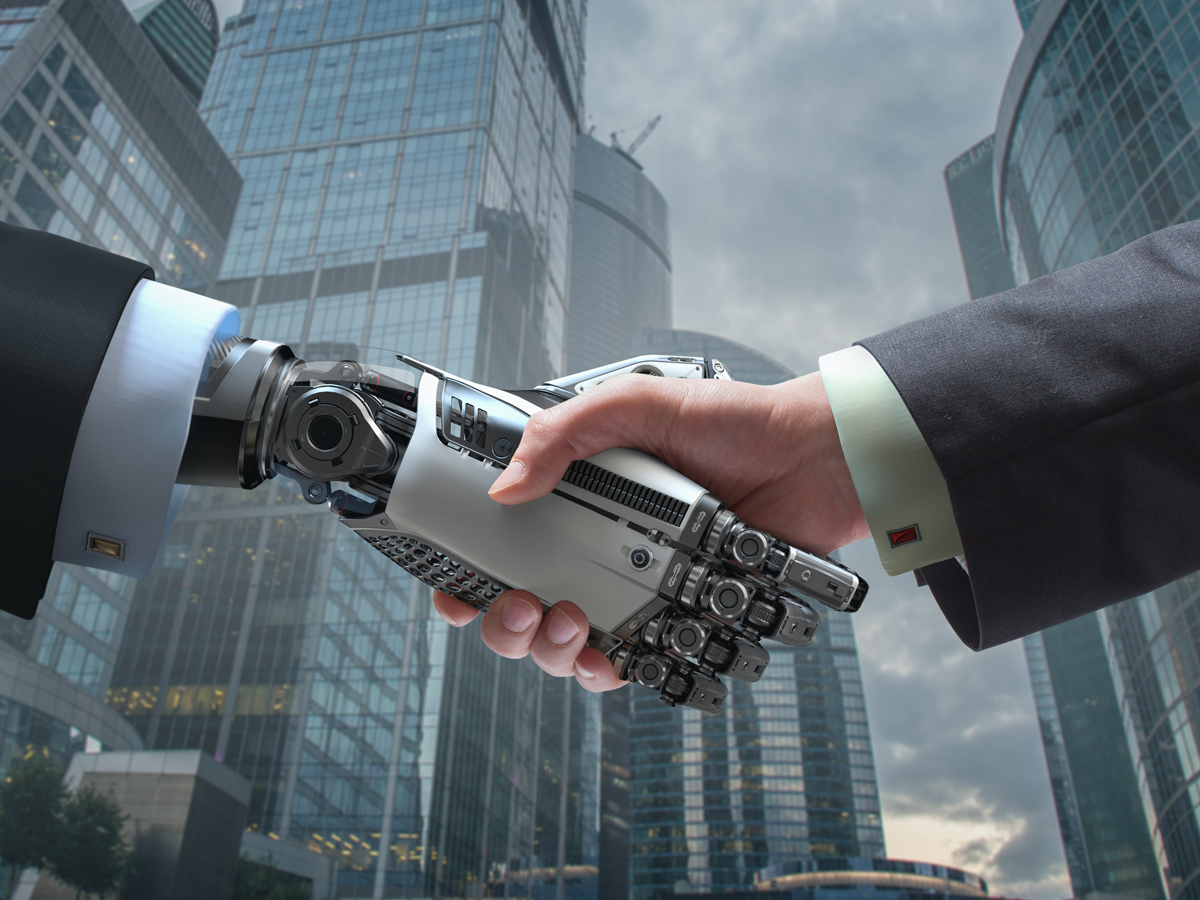 robot and human handshake in middle of business district_Open Access BPO